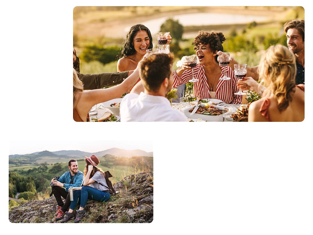 A Diptych consisting of an image of a group of friends drinking outside around a dining table above an image of a couple enjoying a sunset outside.