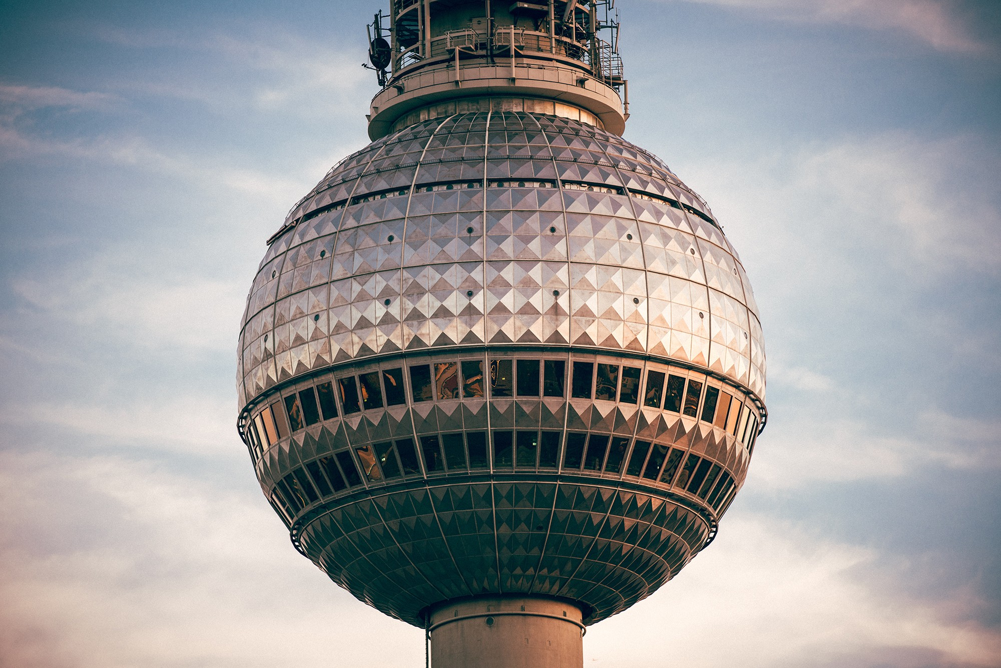 Close up of the Fernsehturm (TV Tower) in Berlin